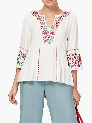 Brora Embroidered Folk Blouse, Ivory