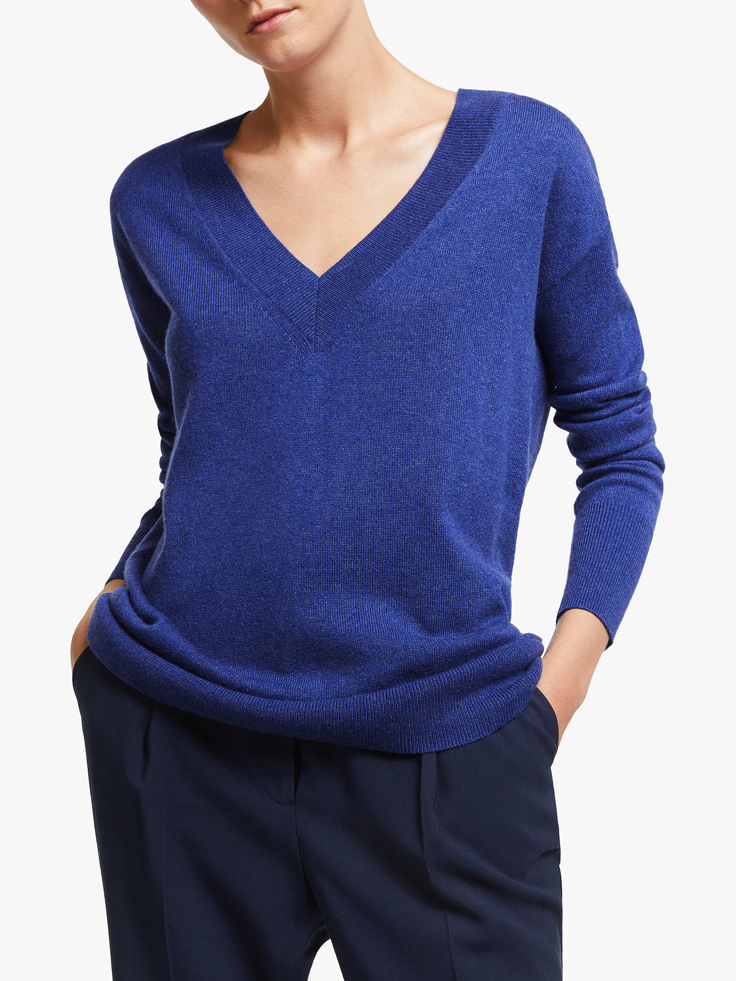 John Lewis & Partners Cashmere Relaxed V Neck Sweater, Twilight Blue by John Lewis & Partners