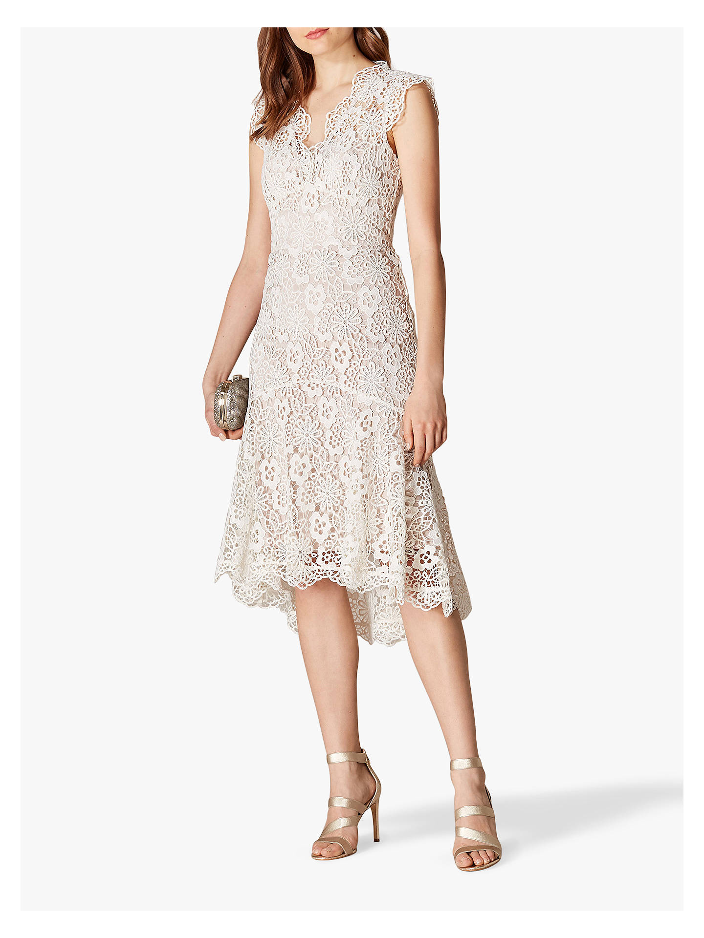 Karen Millen Floral Lace Dress Neutral At John Lewis Partners