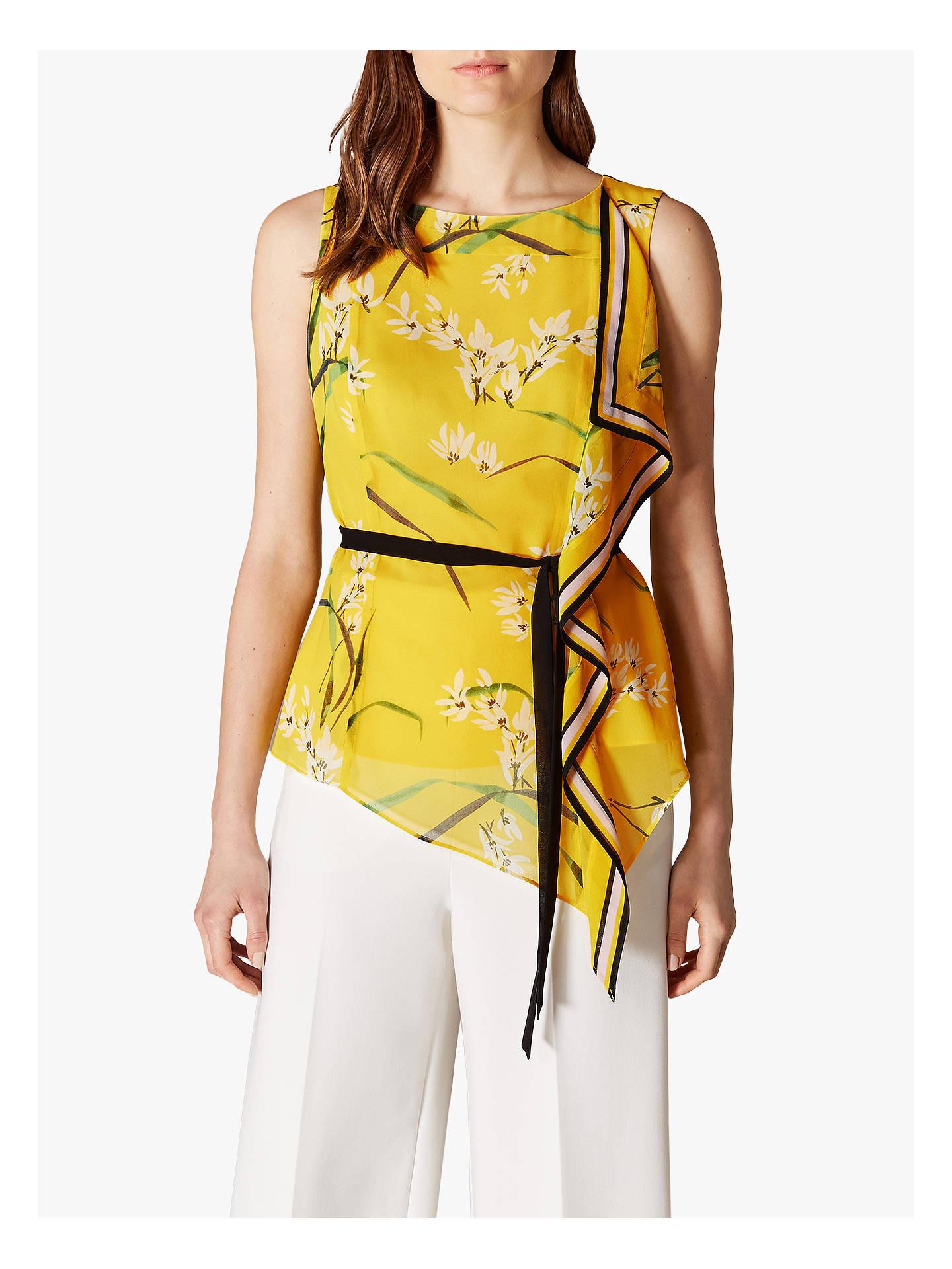 1b360647ae4588 Buy Karen Millen Floral Tie Waist Top, Yellow/Multi, 12 Online at johnlewis  ...