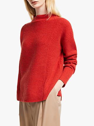 John Lewis & Partners Cashmere Mix Rib Funnel Neck Sweater