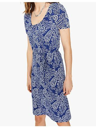 Boden Elspeth Jersey Dress, Lapis Paisley