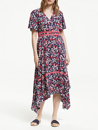 Boden Holly Hanky Hem Midi Dress, Navy/Multi