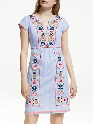 Boden Bea Linen Embroidered Dress, Blue/Multi