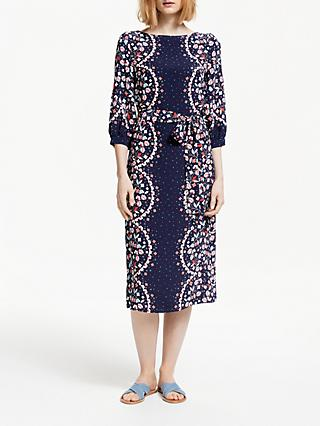 Boden Ferne Midi Dress, Navy/Multi