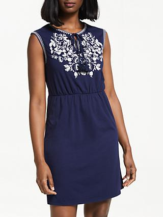 Boden Catriona Embroidered Dress, Navy/White