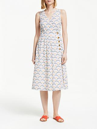Boden Arwen Midi Dress, Ivory/Red Rainbow