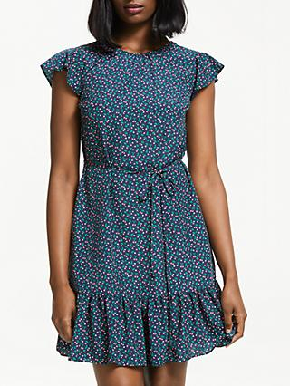 Boden Cynthia Cherry Ruffle Hem Dress, Navy Cherry Picking
