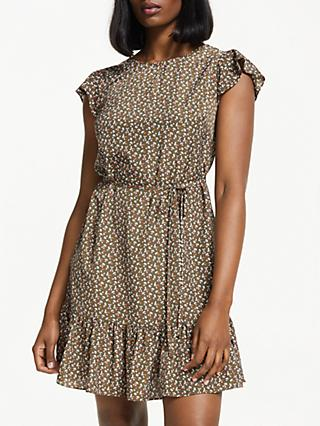 Boden Cynthia Cherry Ruffle Hem Dress, Khaki Cherry Picking