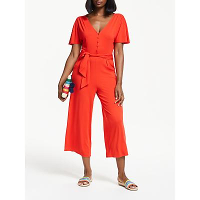 Boden Ella Short Sleeve Jersey Jumpsuit, Red Pop