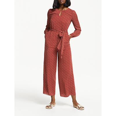 Boden Hermione Silk Tie Waist Spot Jumpsuit, Conker/Ivory