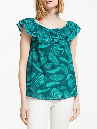 Boden Hettie Cotton Top, Woodland Green