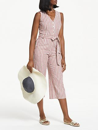 Boden Verity Stripe Jumpsuit, Conker/Ivory Stripe