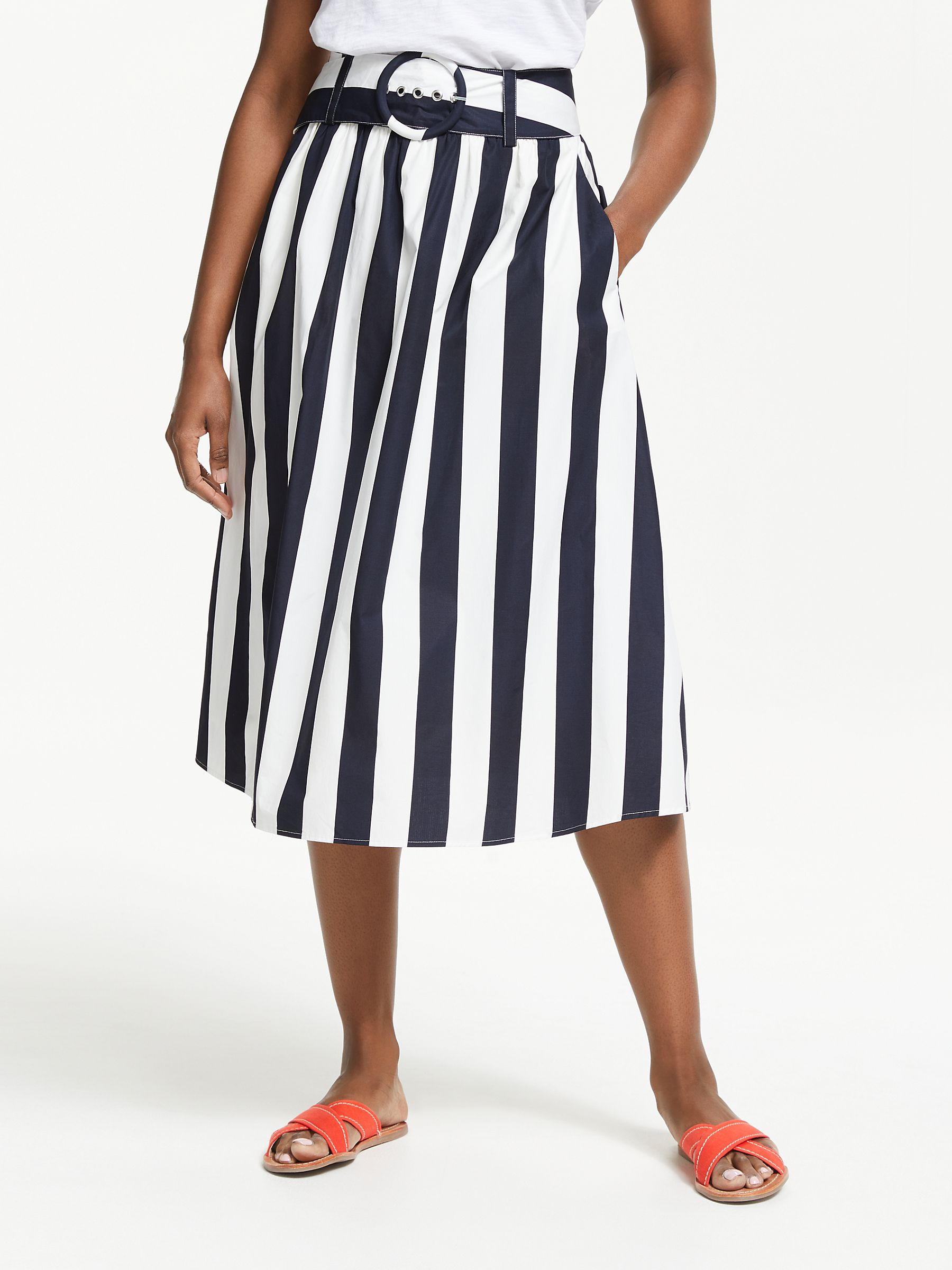 new selection latest discount release info on Boden Rebecca Cotton Midi Skirt, Navy/Ivory