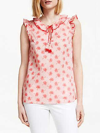 Boden Laurie Floral Tassel Cotton Top, Chalky Pink