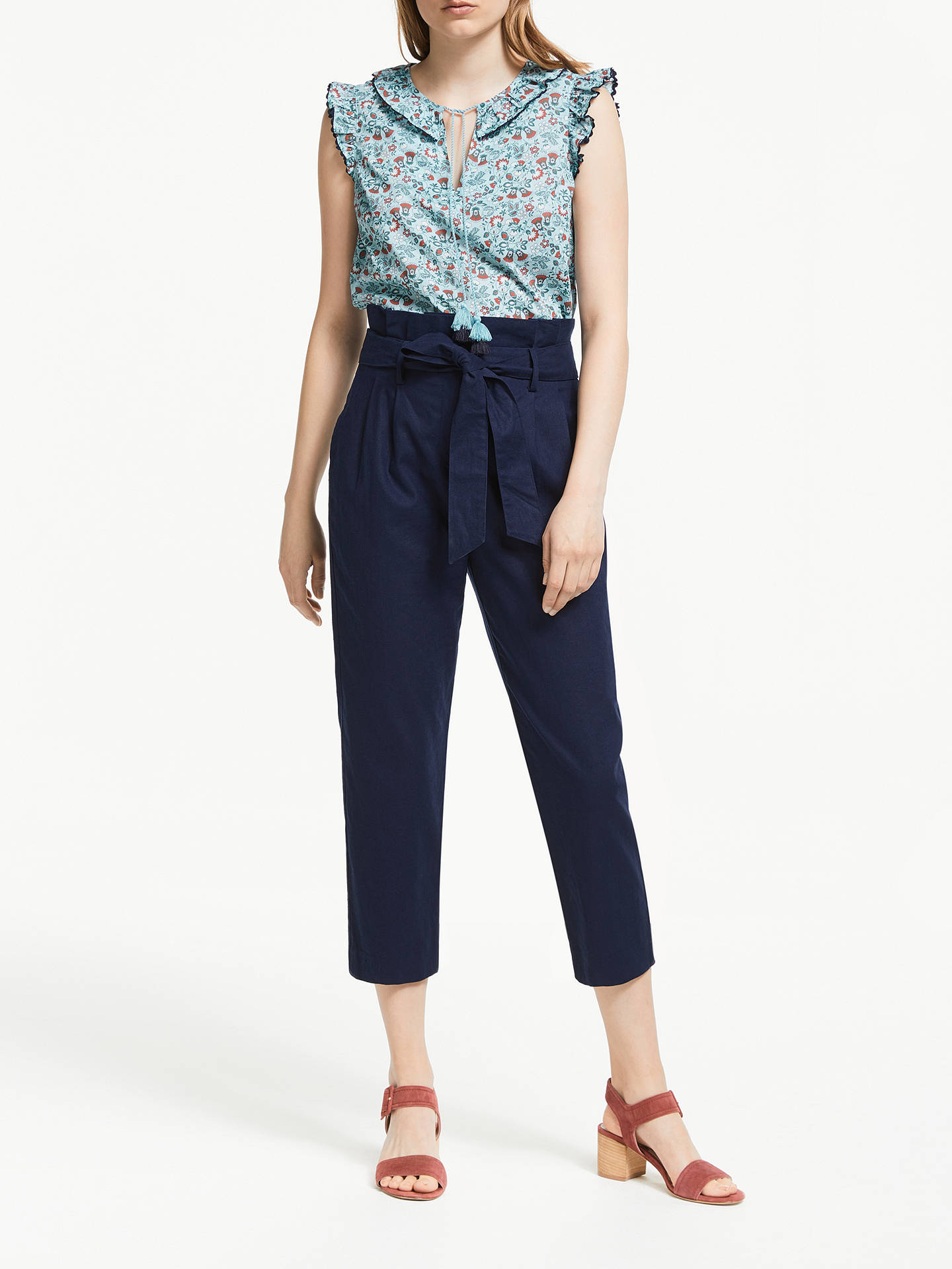 Buy Boden Laurie Floral Tassel Cotton Top, Heron Blue, 10 Online at johnlewis.com