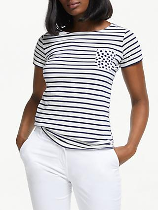 8a5755170fc9d Boden Short Sleeve Spot Pocket Breton Stripe Top