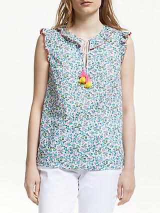 Boden Laurie Floral Tassel Cotton Top