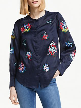 Boden Claudia Embroidered Blouse, Navy/Multi