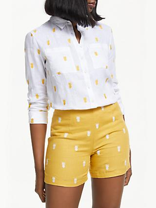 Boden Embroidered Linen Shirt, Pineapple