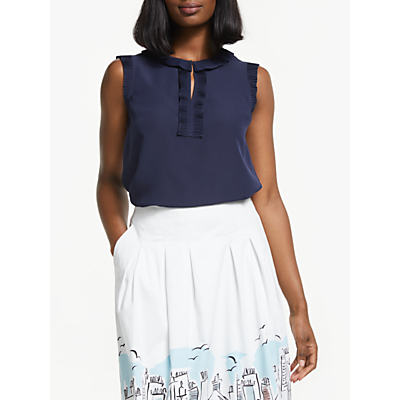 Boden Peggy Pleated Top, Navy