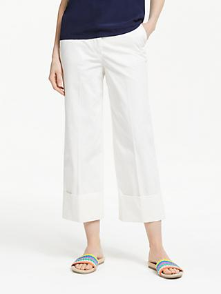 Boden Hambledon Cotton Turn Up Trousers, Ivory