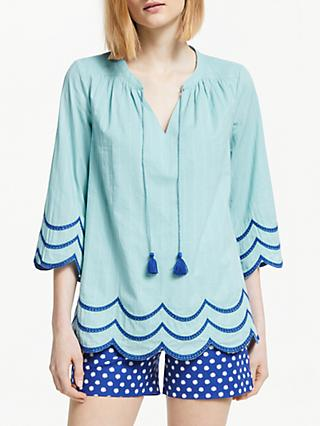 Boden Willa Scalloped Trim Top, Heron Blue