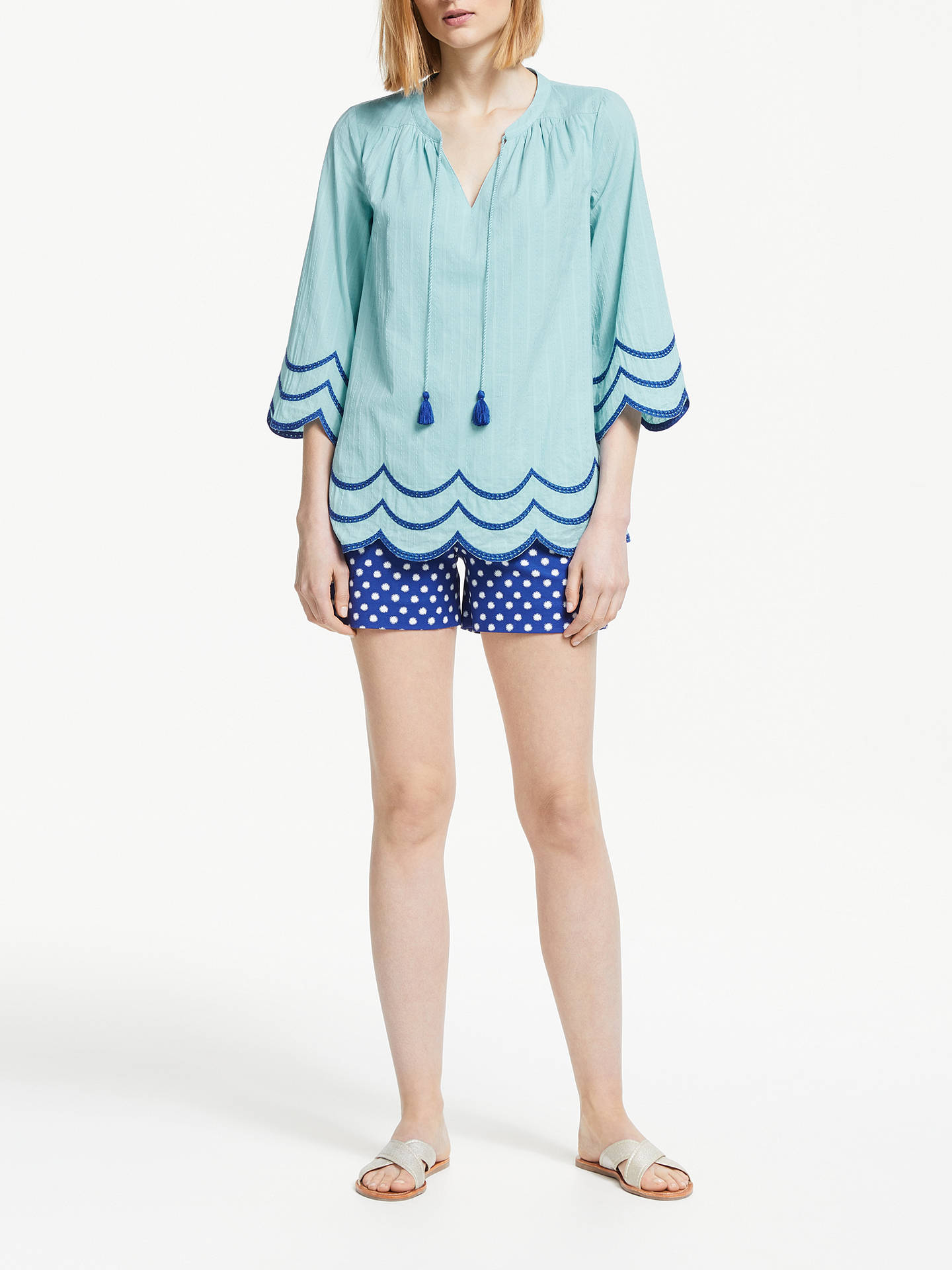 Buy Boden Willa Scalloped Trim Top, Heron Blue, 12 Online at johnlewis.com