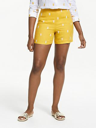 Boden Tropical Embroidered Shorts, Dijon Yellow
