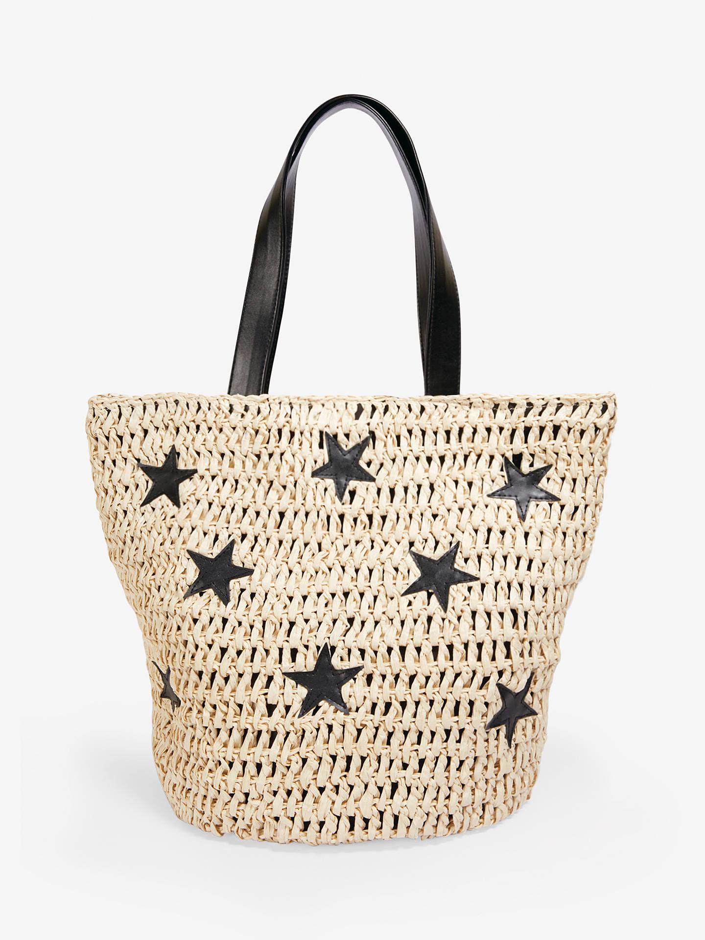 60b3157d Buy hush Cannes Straw Star Detail Tote Bag, Neutral/Black Online at  johnlewis.