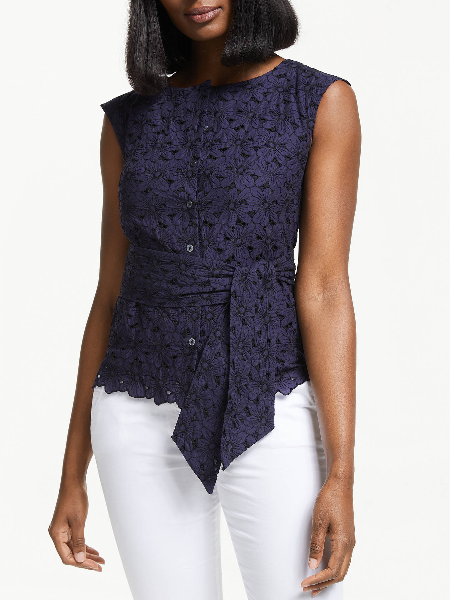 Buy Boden Claudette Broderie Top, Navy, 18 Online at johnlewis.com