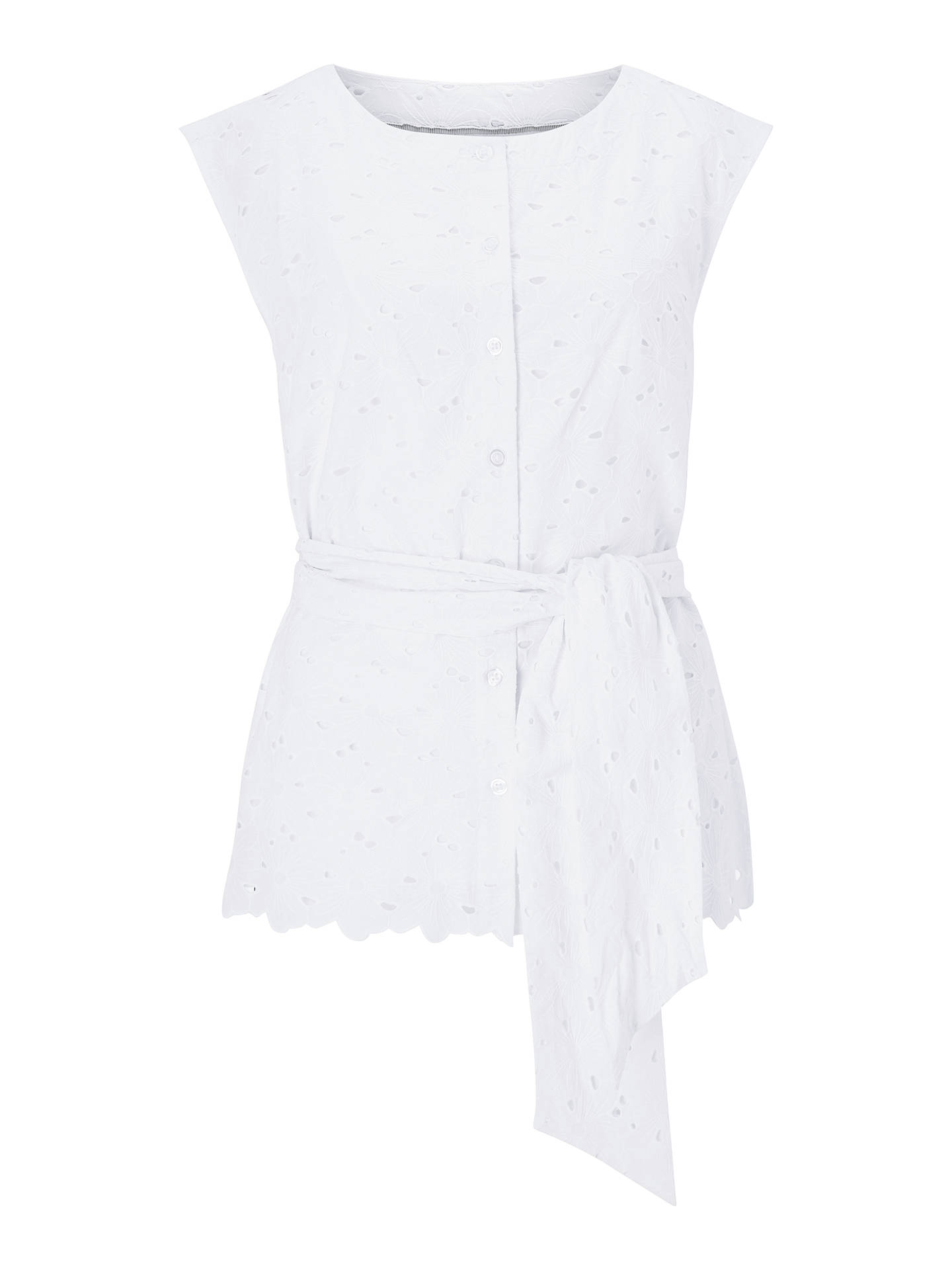 Buy Boden Claudette Broderie Top, White, 18 Online at johnlewis.com