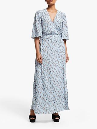 Somerset by Alice Temperley Bird Print Wrap Dress, Light Blue