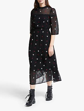 Somerset by Alice Temperley Star Embroidered Dress, Black