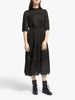 Somerset by Alice Temperley Leopard Jacquard Midi Dress, Black