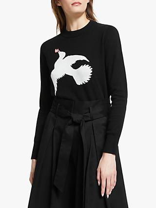 Somerset by Alice Temperley Star Bird Intarsia Jumper, Black