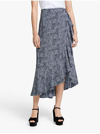 Somerset by Alice Temperley Micro Leopard Print Midi Skirt, Blue