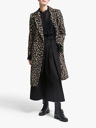 Somerset by Alice Temperley Leopard Print Double Breasted Coat, Brown
