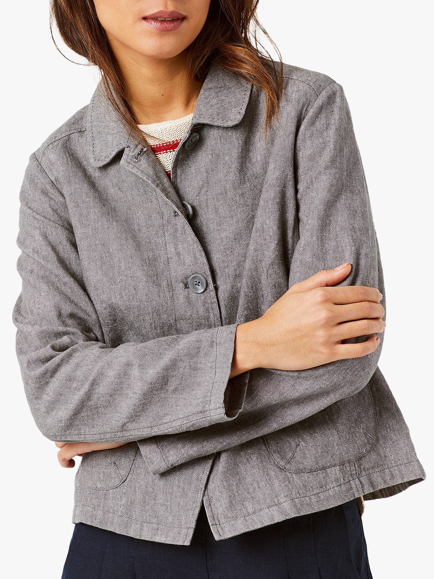 Buy White Stuff Melody Linen Rich Jacket, Grey, 6 John Lewis & Partners