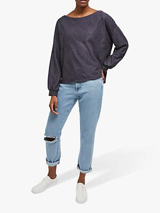French Connection Tiarella Texture Jersey Top, Ebano