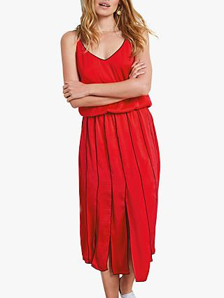 hush Pleat Panel Dress, Red