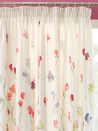 bluebellgray Sweet Pea Pair Lined Pencil Pleat Curtains, Multi