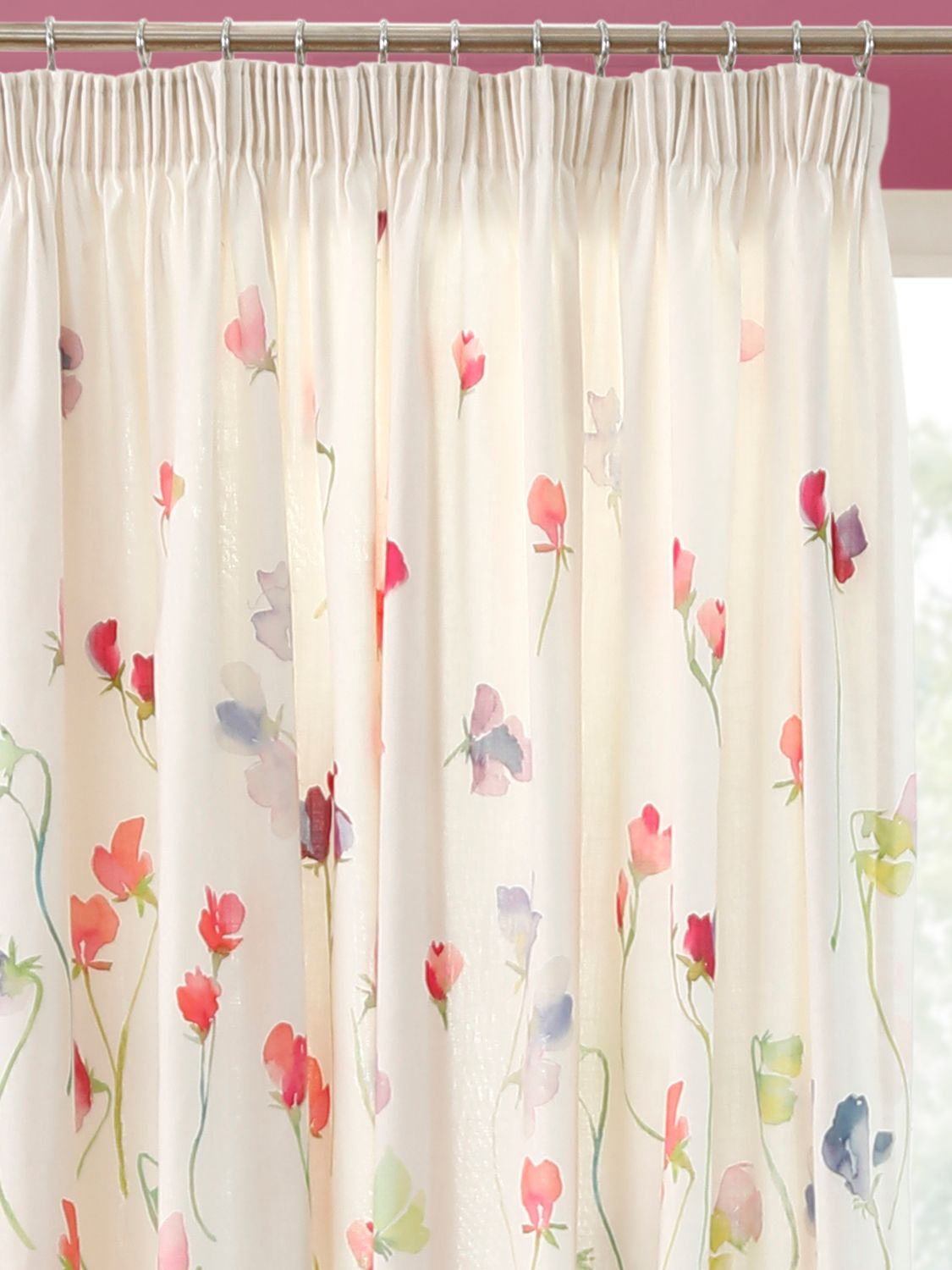 bluebellgray bluebellgray Sweet Pea Pair Lined Pencil Pleat Curtains, Multi