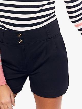 Oasis Button Detail Cotton Shorts, Black
