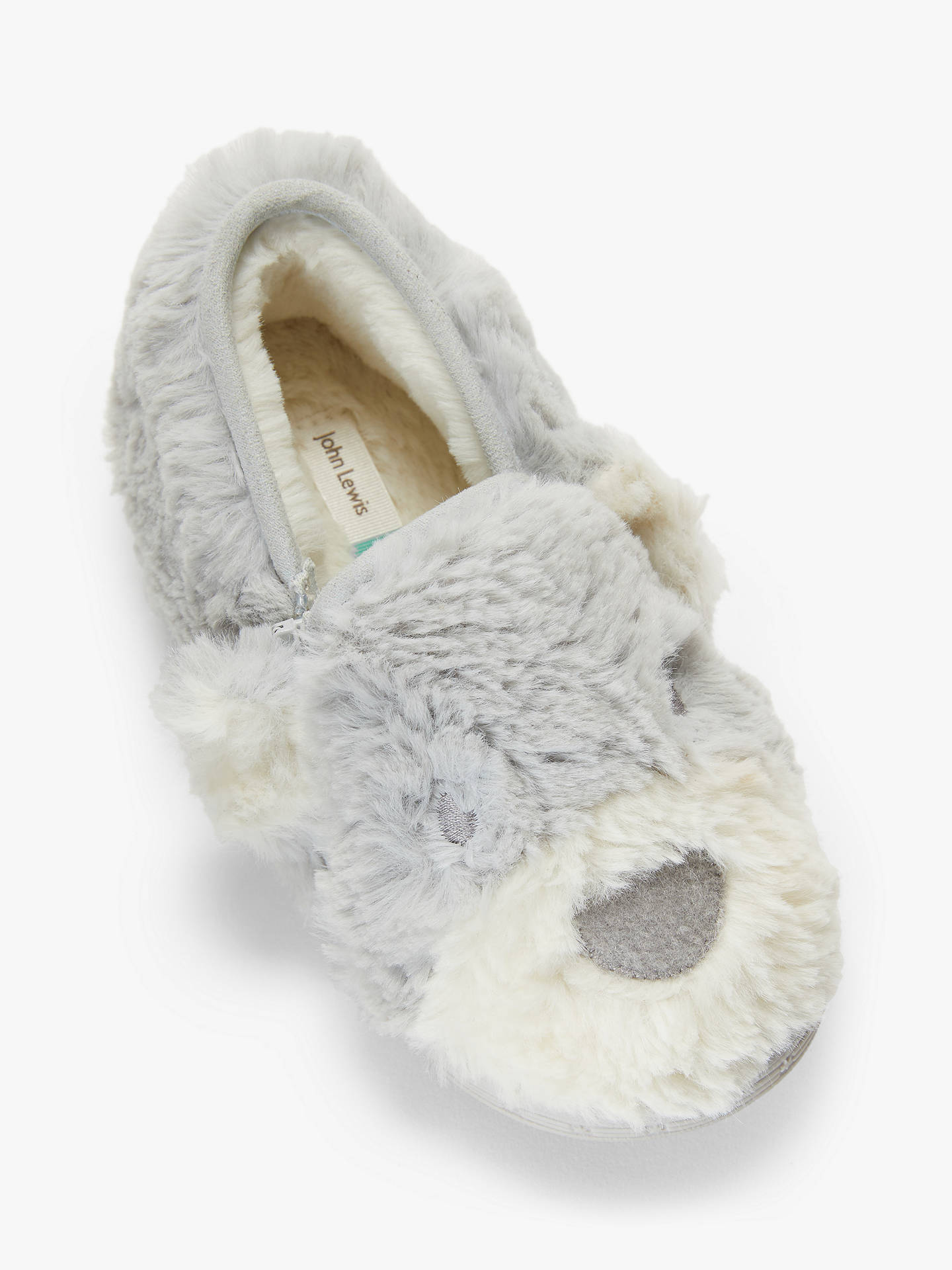 a1ac48273d31f John Lewis & Partners Baby Bear Slippers, Grey
