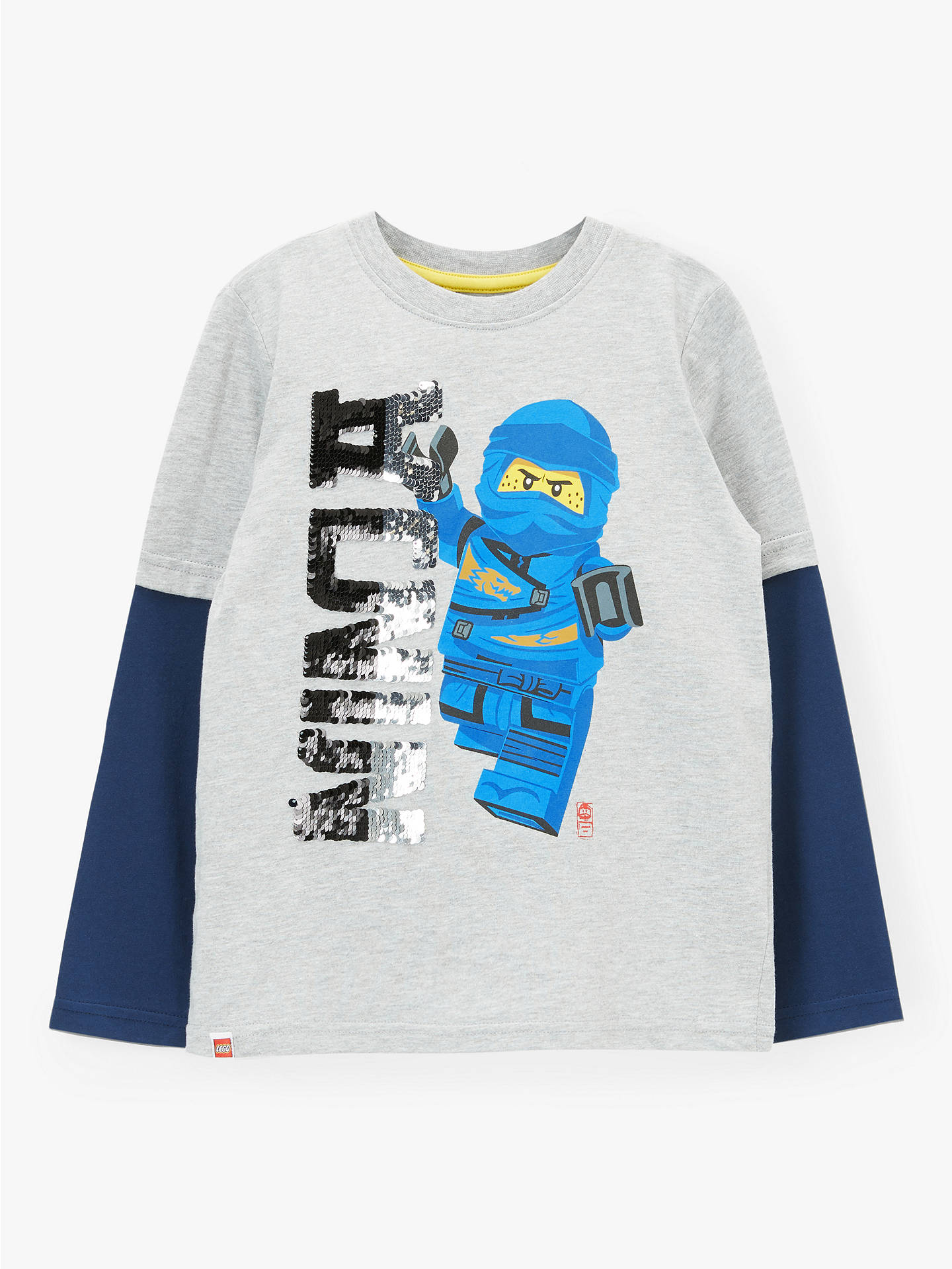 50% ceny sklep dostać nowe LEGO Boys' Ninjago Sequin T-Shirt, Grey at John Lewis & Partners