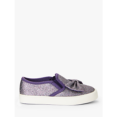 John Lewis & Partners Children's Phoebe Glitter Bow Slip On Shoes, Purple