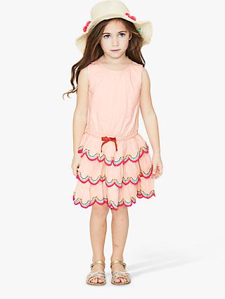 Mini Boden Girls' Tiered Ruffle Dress, Parisian Pink