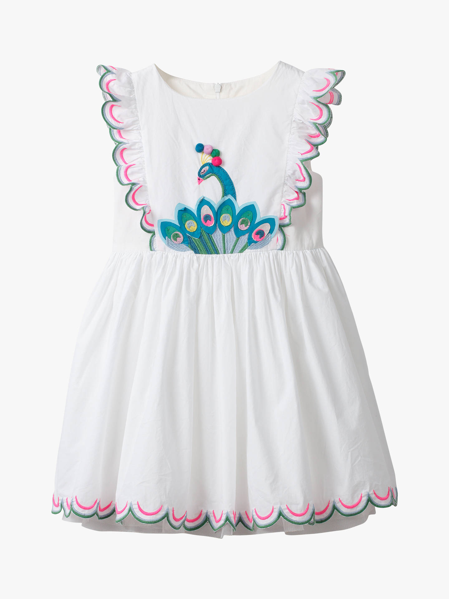025d859842319 ... Buy Mini Boden Girls' Peacock Embroidered Scallop Dress, Ivory, 8-9  years ...
