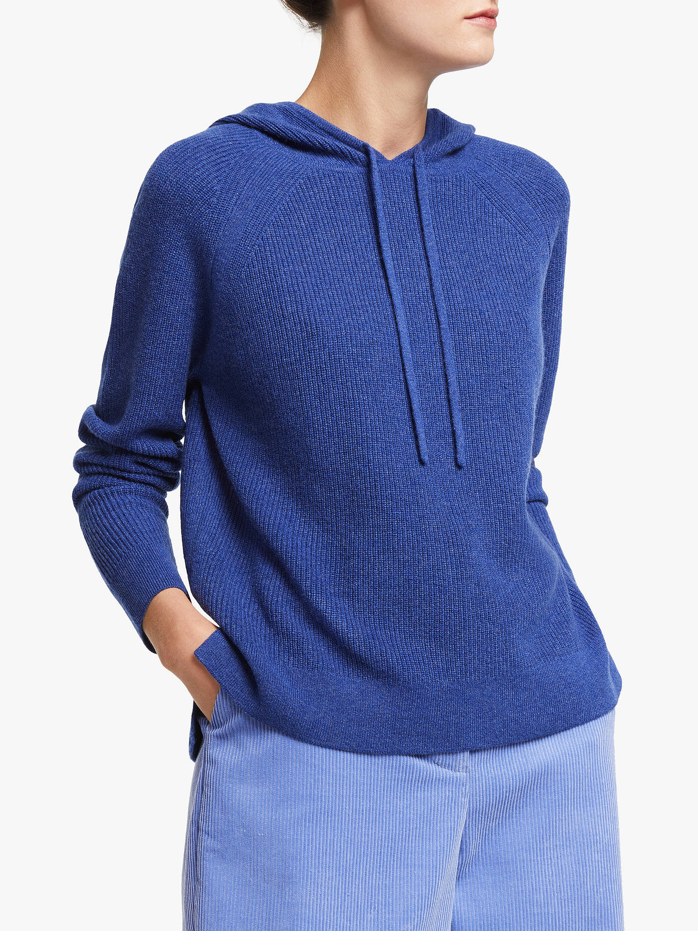 John Lewis & Partners Cashmere Hooded Sweater, Twilight Blue by John Lewis & Partners